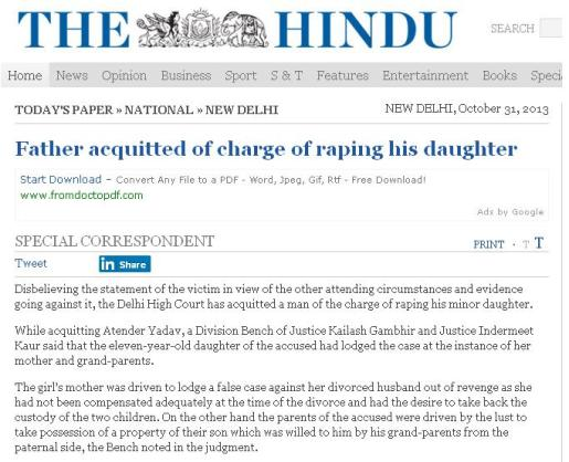 Father acquited of rape charge