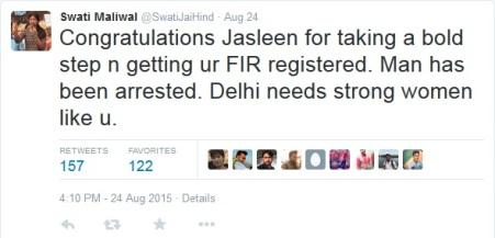 Swati Maliwal Tweet on Jasleen