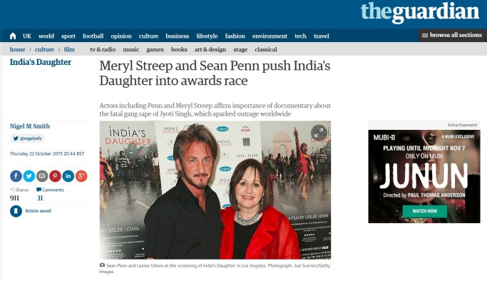 Meryl Streep and Sean Penn, India's Daughter